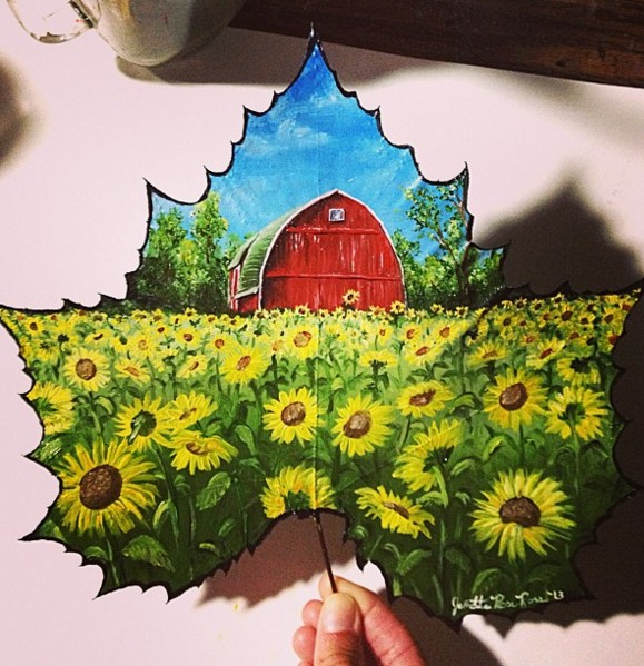house creative painting leaf by janette rose