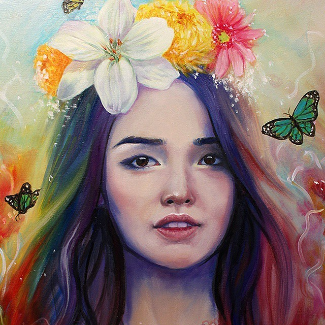 1 lady colorful paintings by happy d