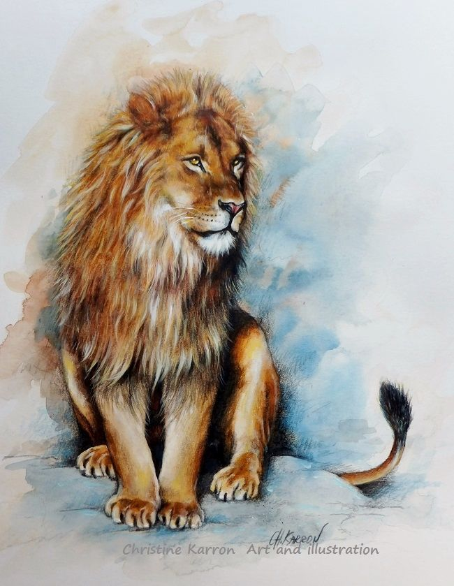 lion watercolor paintings by christine karron