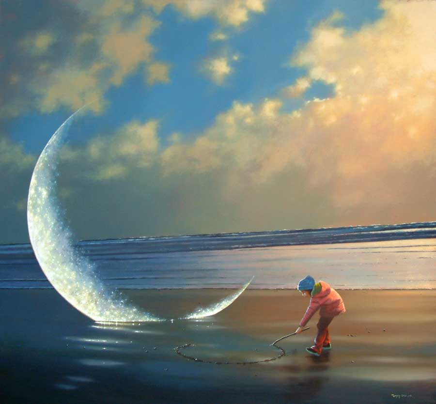 moon child surreal paintings by jimmy lawlor
