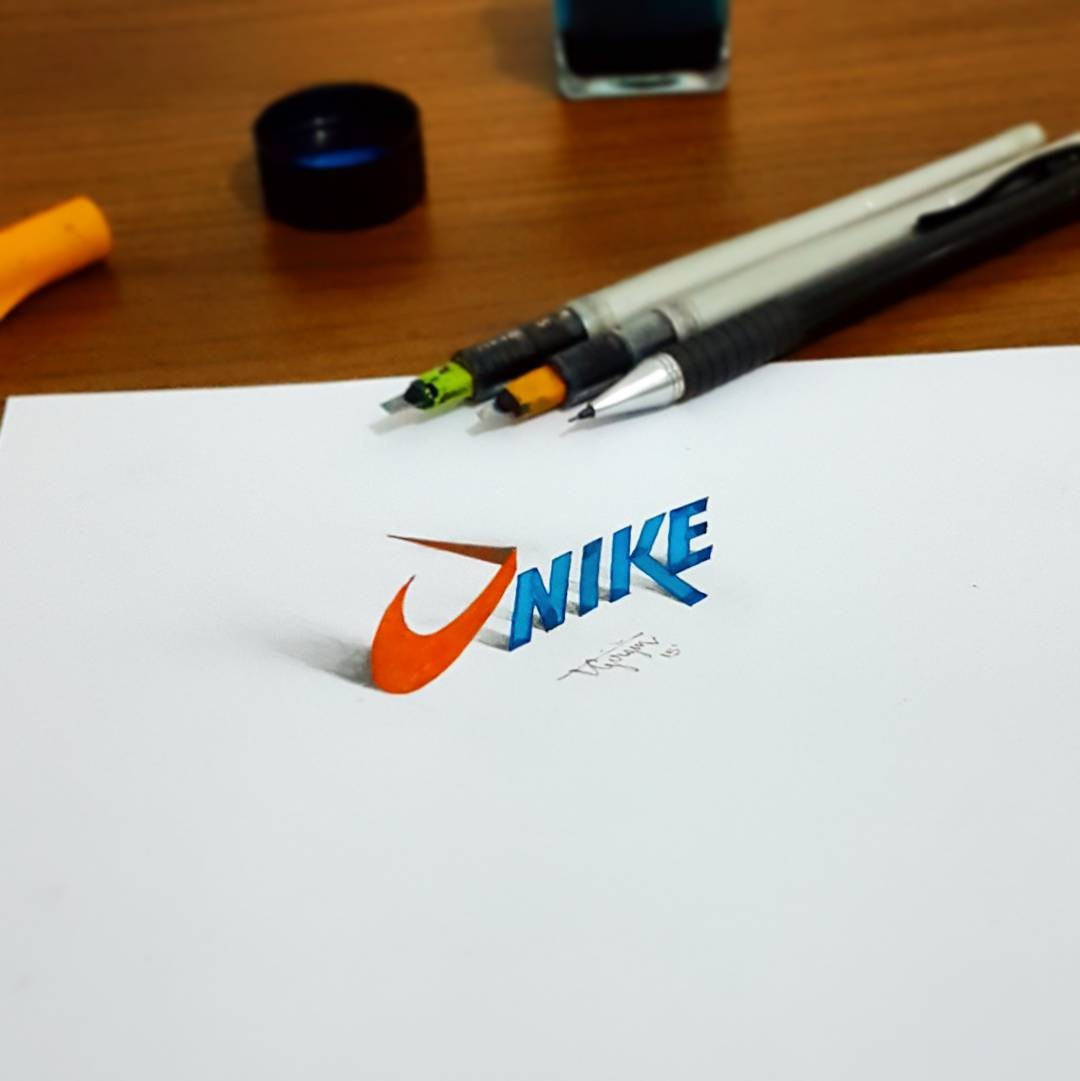 1 nike 3d calligraphy drawings by tolga