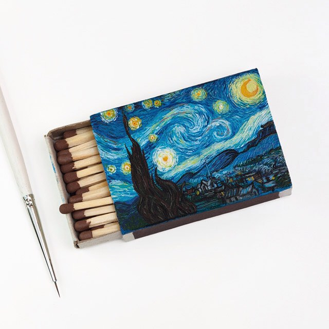 starry night miniature painting matchbox by salavat fidai