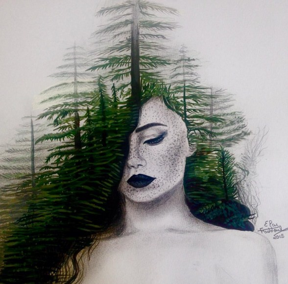 tree color pencil drawings by elcy faddoul