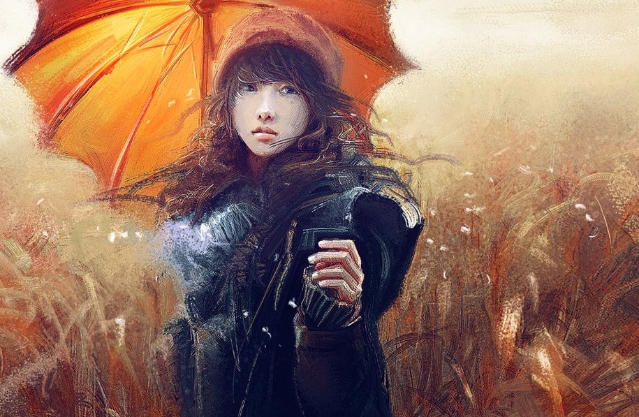 after rain woman chinese painting by ling shu