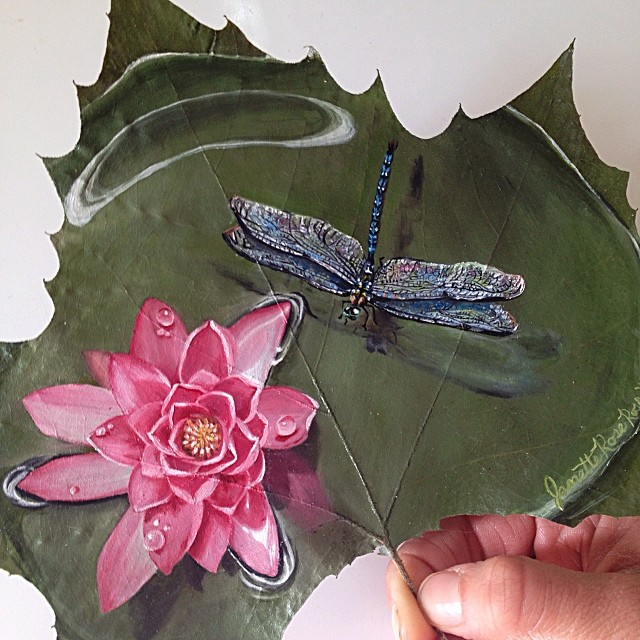 butterfly creative painting leaf by janette rose
