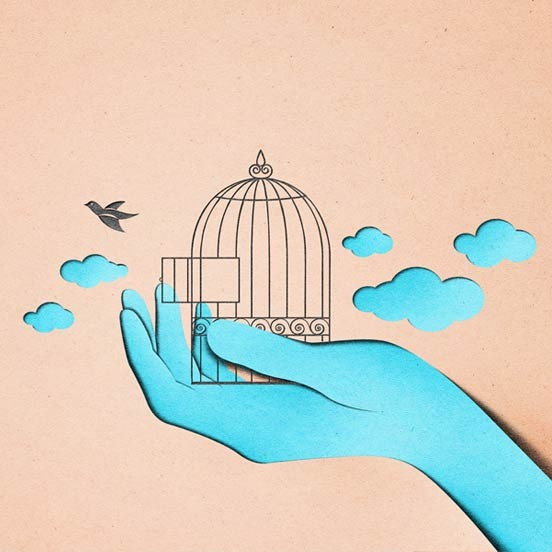 cage paper art by eiko ojla