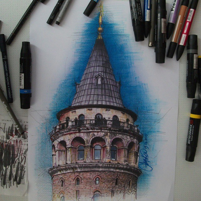 castle realistic drawing by ayse bakir