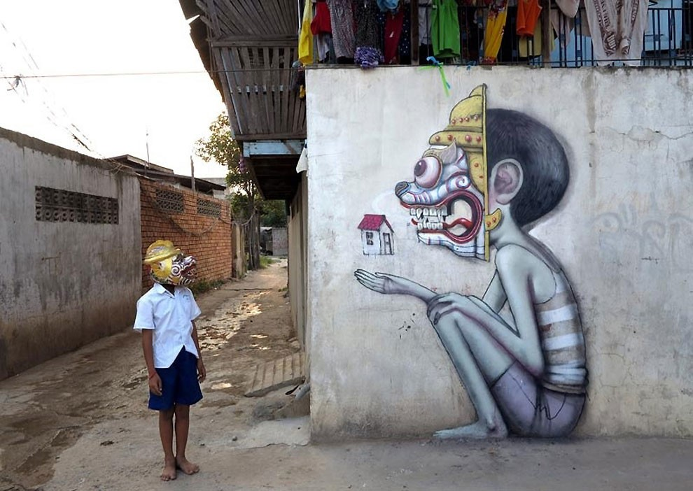 mask kid street art by graham fink