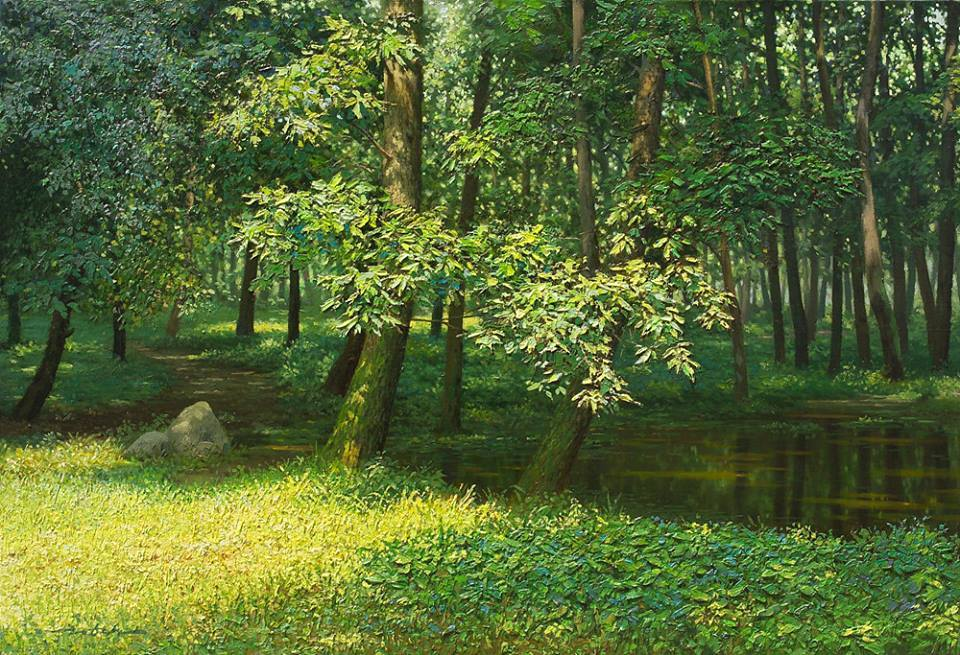 nature realistic scenery painting by jung hwan