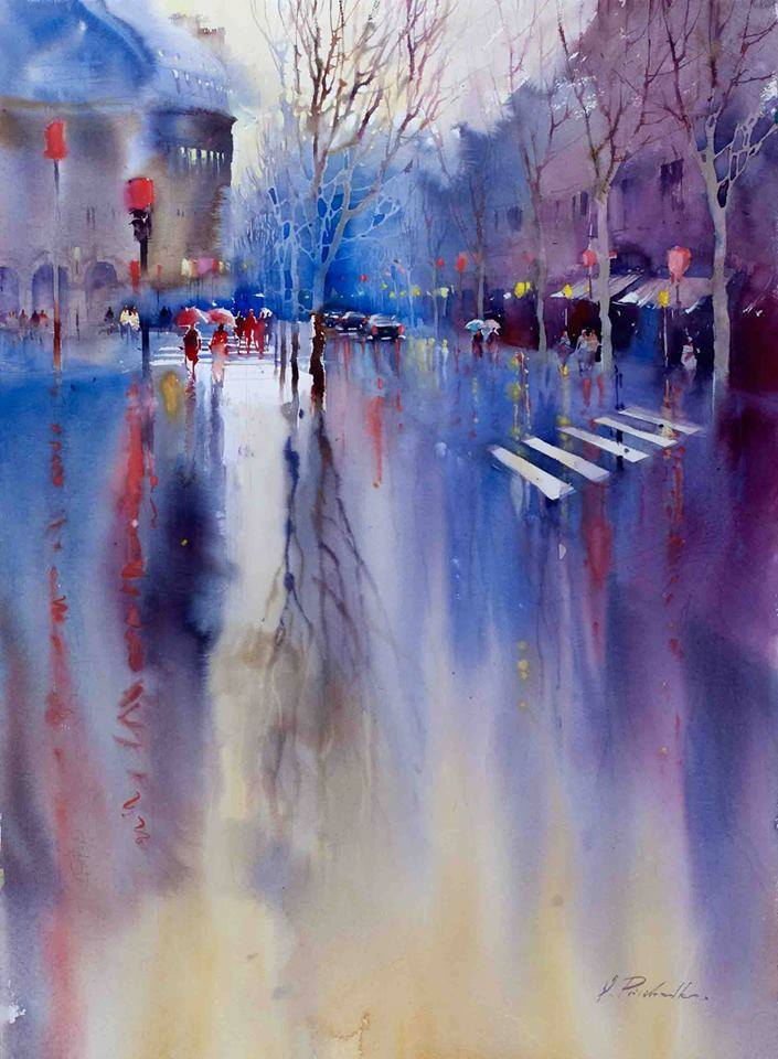 street watercolor paintings by victoria prischedko