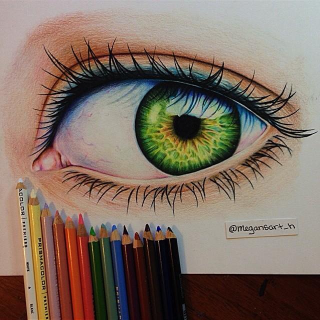 3d eye color pencil drawing by megan renee