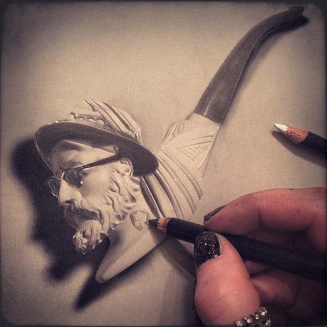man pipe pencil drawing by stacy jean