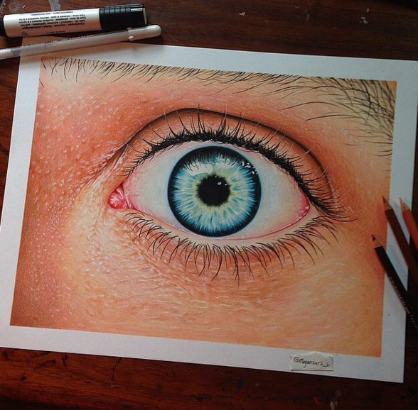 3d eye color pencil drawing by megan renne