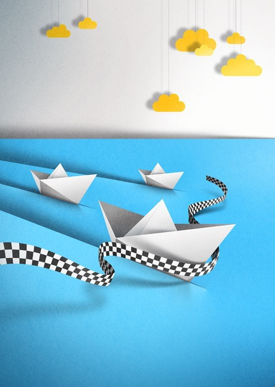 boat paper art by eiko ojla