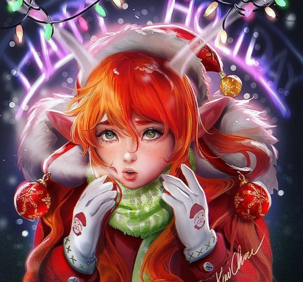 chrismas kid digital art by sakimi chan