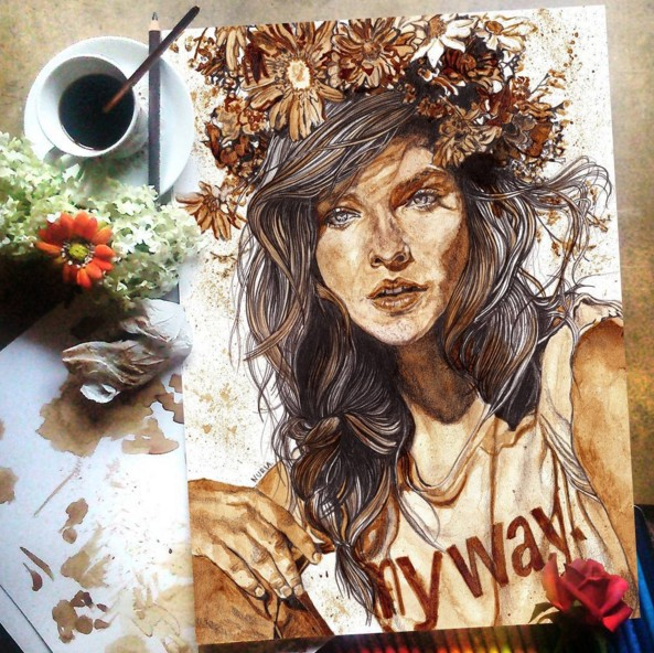 coffee art painting by nuriamarq