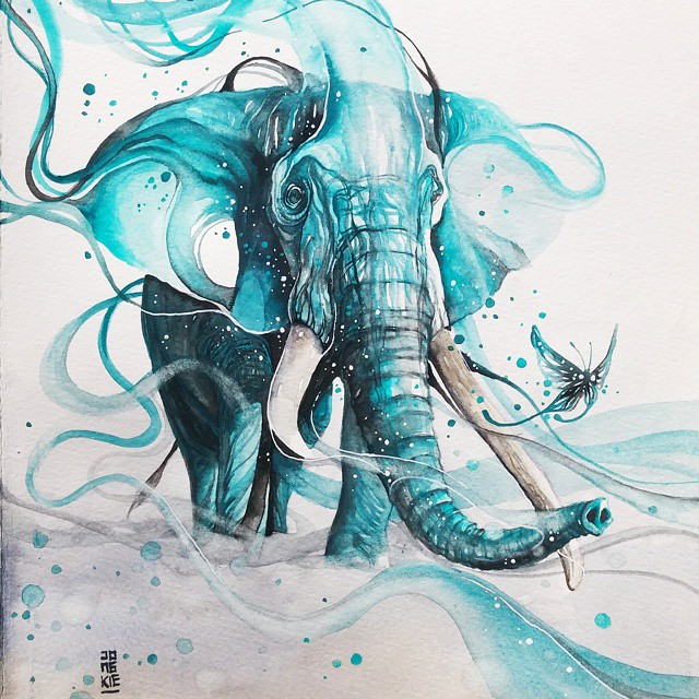elephant animal watercolor paintings by luqman reza