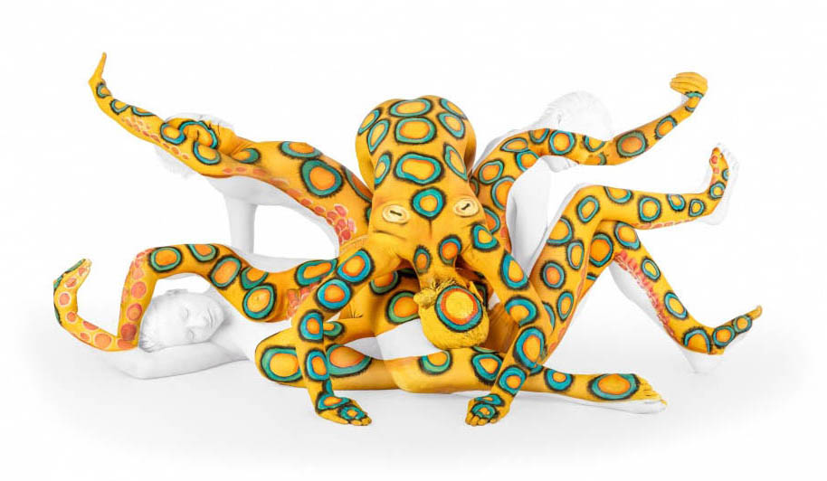octopus body painting art by emma fay