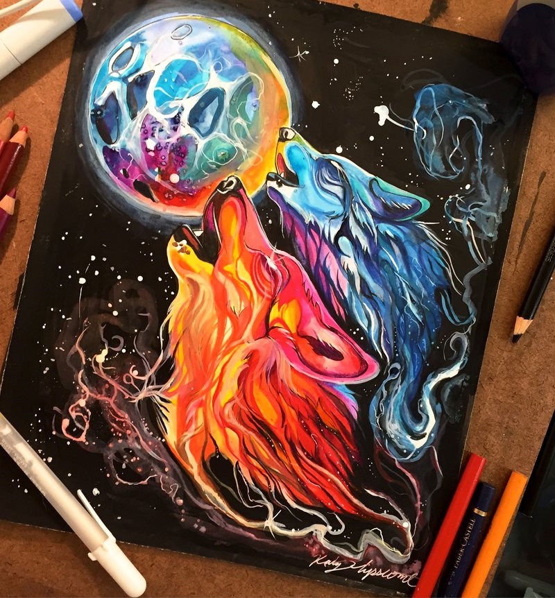 space wolf animal drawings by katy lipscomb