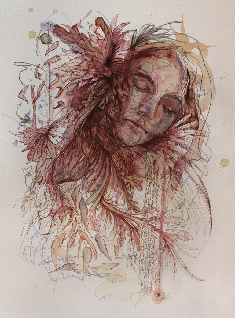woman creative drawings by carne griffiths