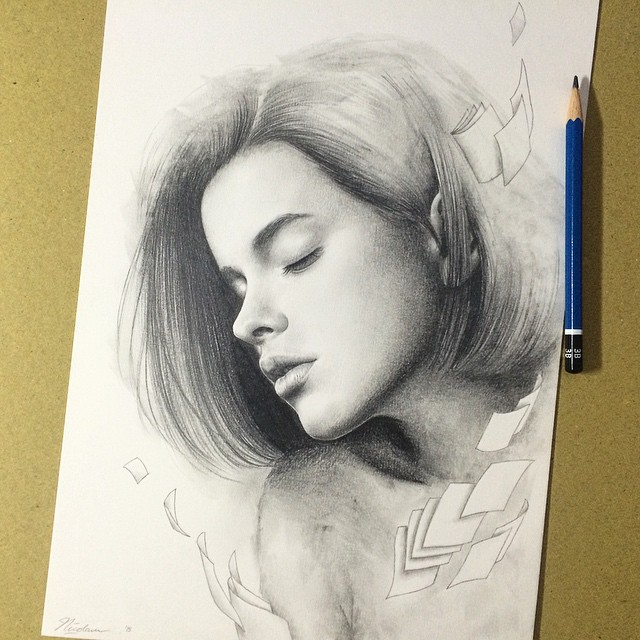woman pencil drawings by nicolaus ferry