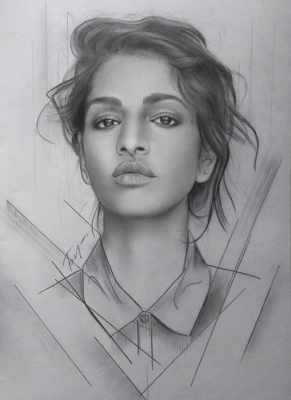 woman portrait pencil drawings by vita biryulina