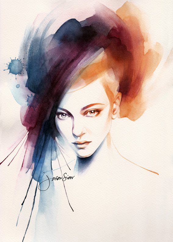 woman watercolor paintings by jason siew