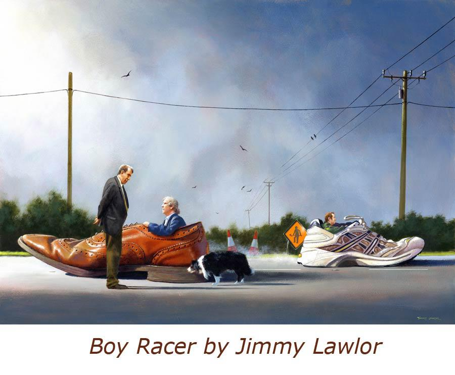 boy racer surreal paintings by jimmy lawlor