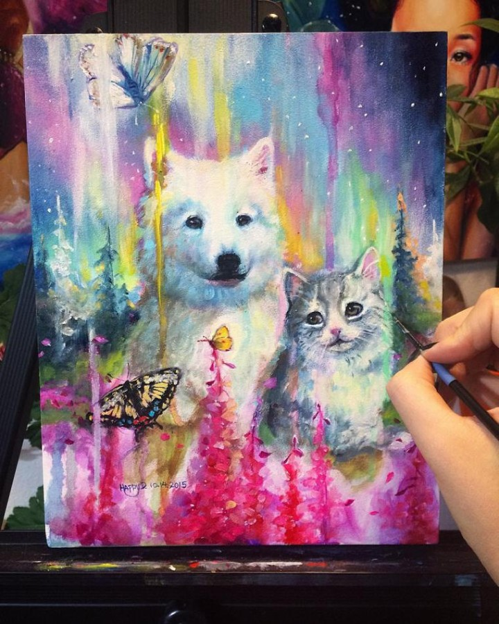 dog colorful paintings by happy d