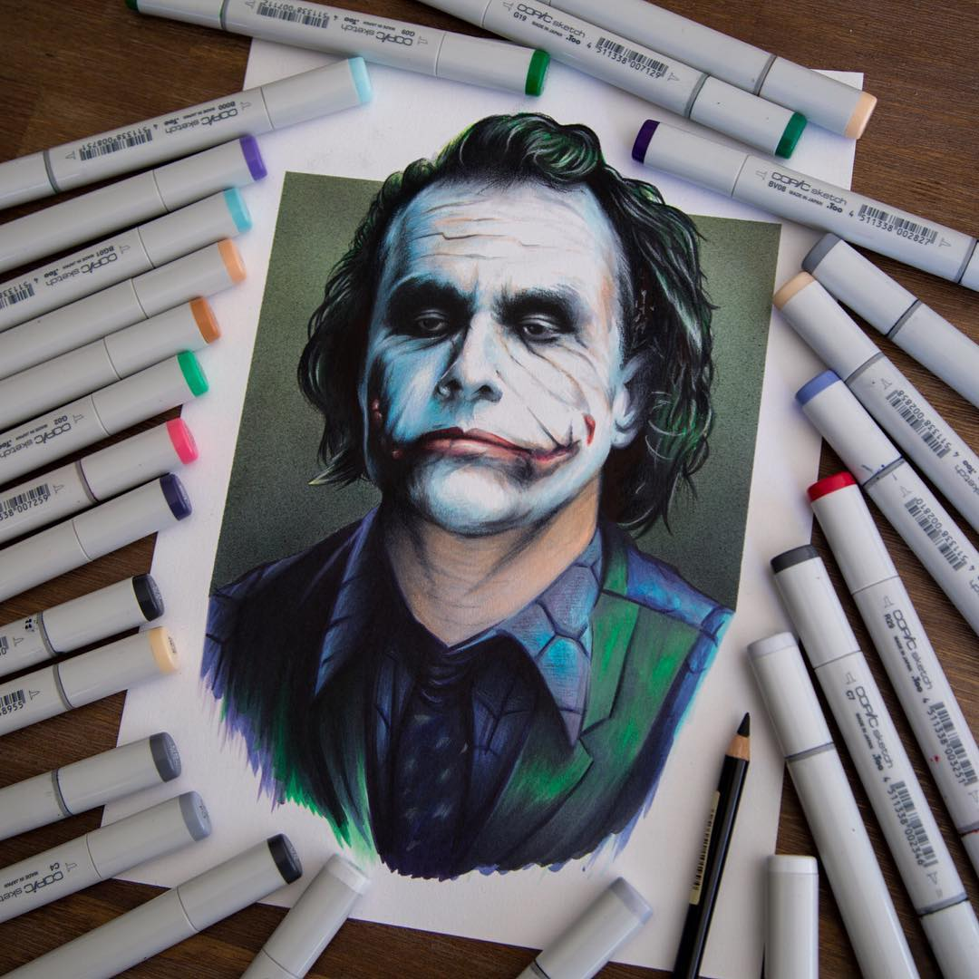 joker color marker drawings by stephen ward