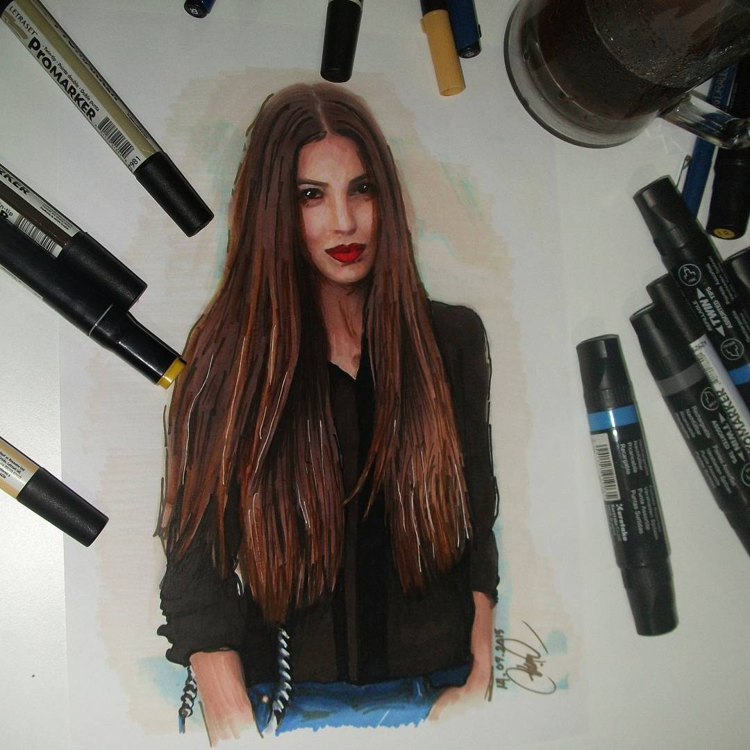 13 lady realistic drawing by ayse bakir