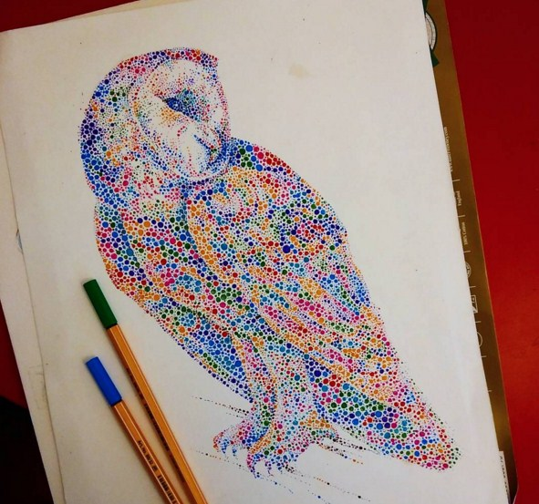 owl watercolor painting by anaensh
