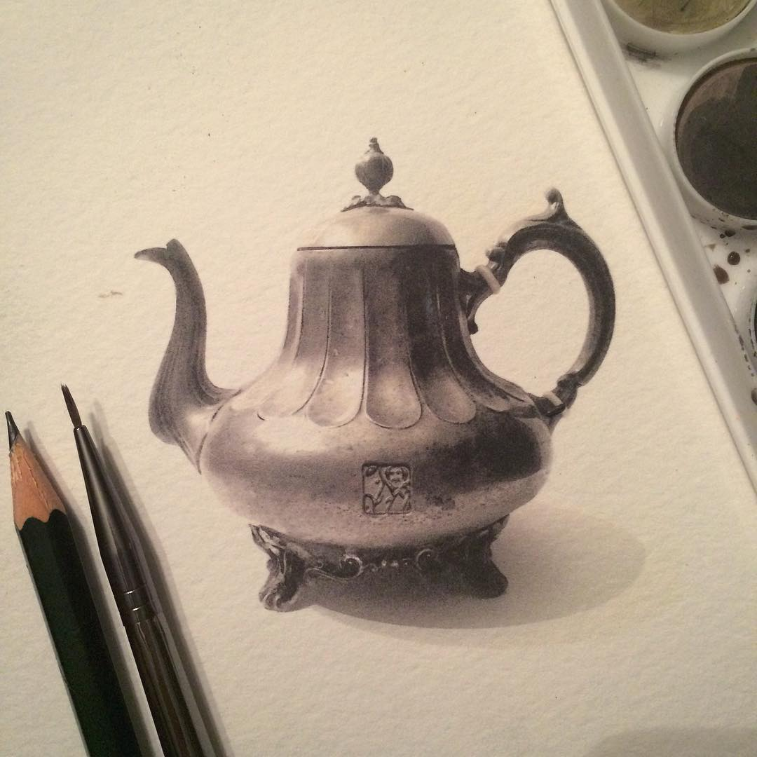tea pot pencil drawing by stacy jean
