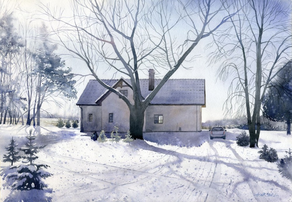 winter house watercolor paintings by wrobel