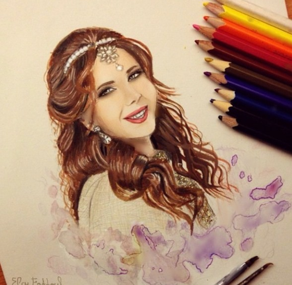 woman color pencil drawings by elcy faddoul