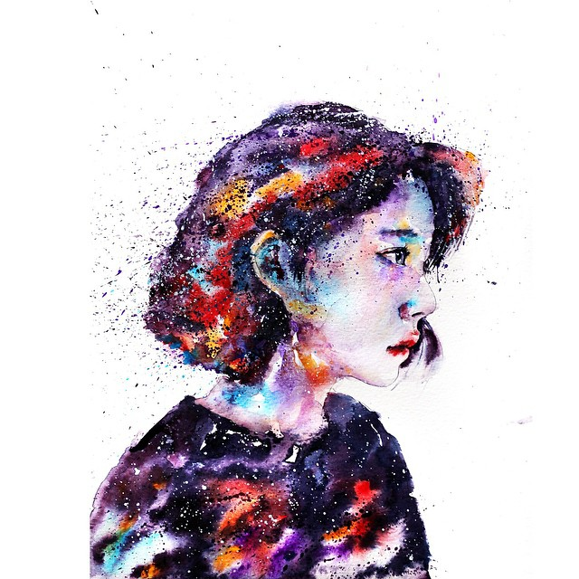 woman colorful watercolor paintings by liviing