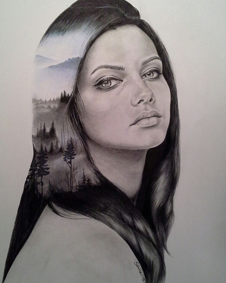 woman pencil drawings by sanne