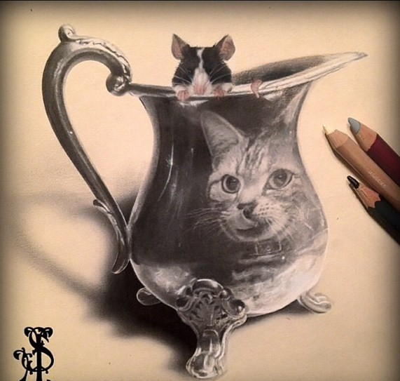 cat mouse pencil drawing by stacy jean