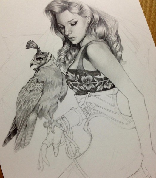eagle woman pencil drawing by siyoung