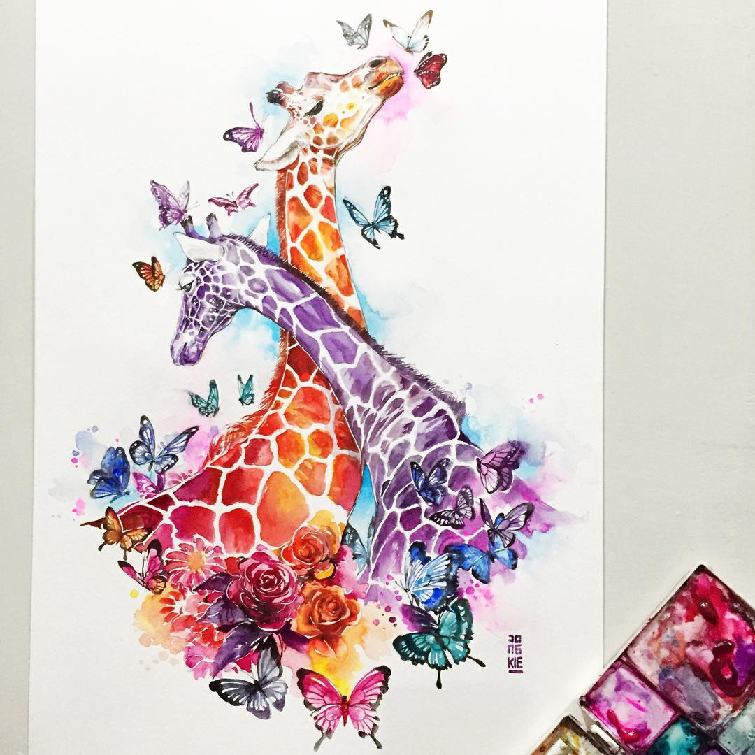 giraffe animal watercolor paintings by luqman reza