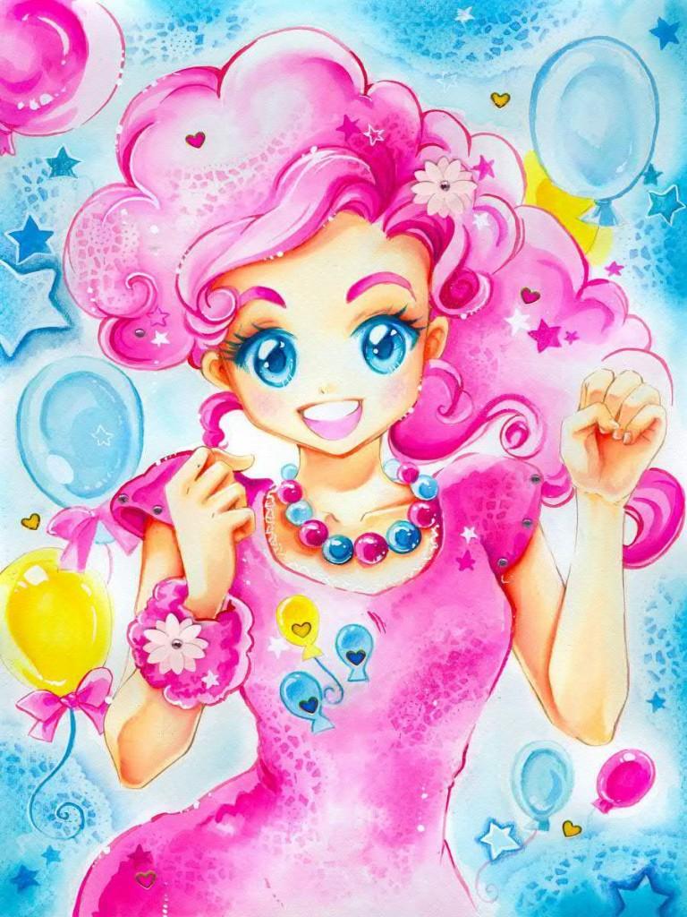 pinkie pie manga drawings watercolor paintings by naschi