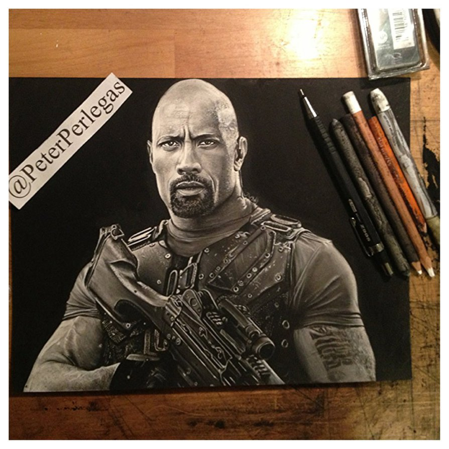 14 realistic drawing dwayne johnson peter perlegas