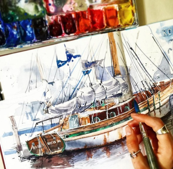 ship watercolor paintings by julia barminova