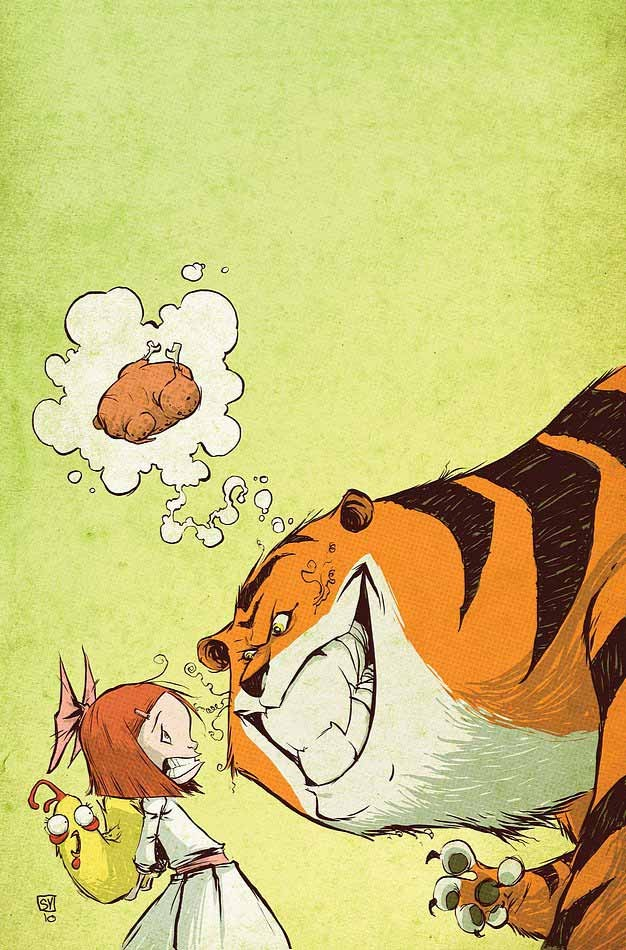 tiger comic art by skottie young