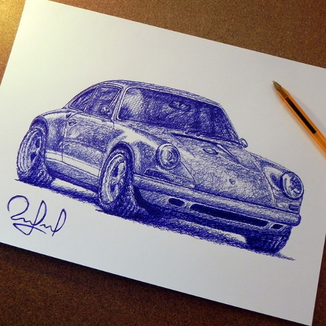 car pen drawings by rafael augusto