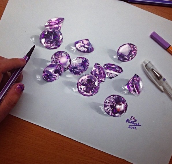 15 cristal color pencil drawings by elcy faddoul