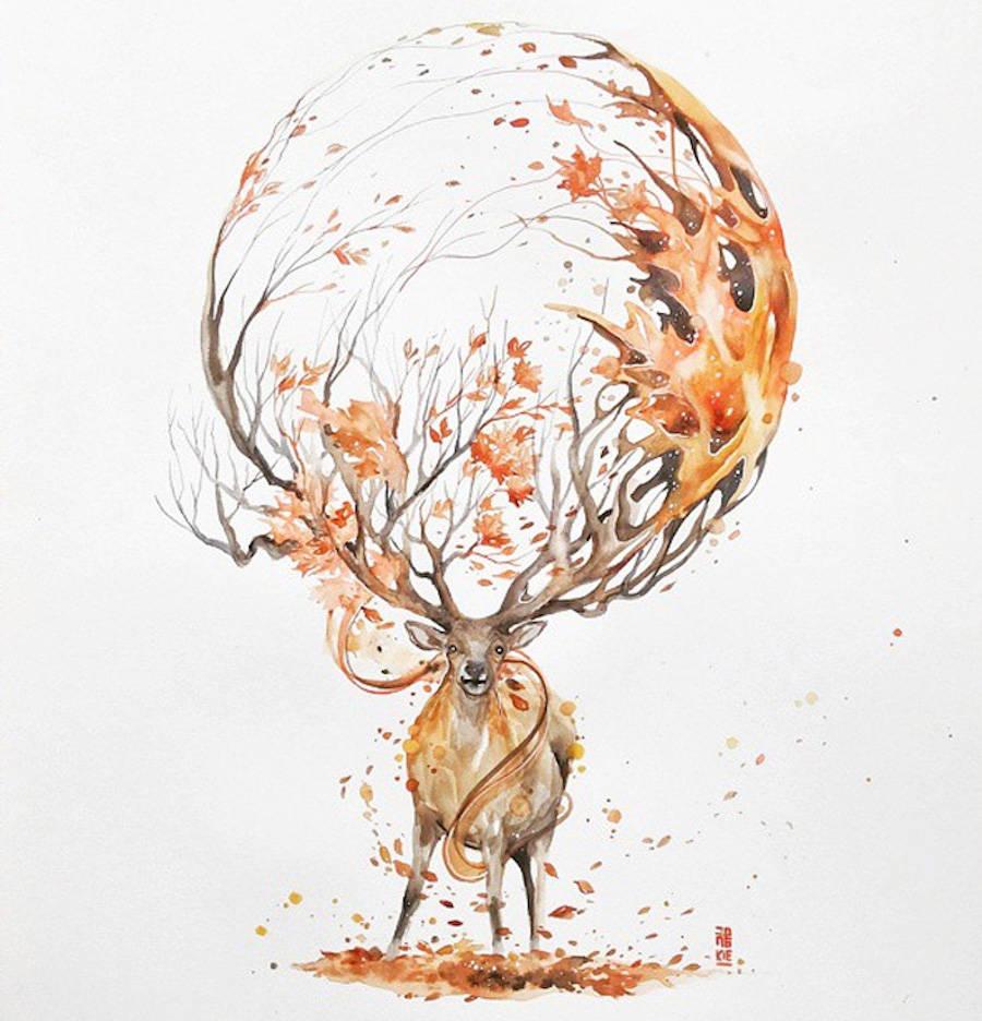 deer animal watercolor paintings by luqman reza