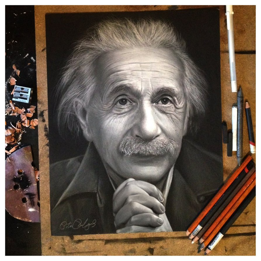 realistic drawing einstein peter perlegas