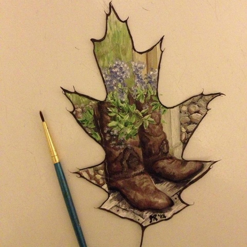 shoe creative painting leaf by janette rose