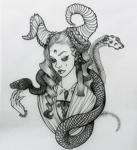 snake woman pencil drawing by siyoung